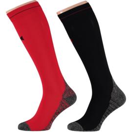 X-treme | Running Compression Socks Zwart-Rood | 2-Pack
