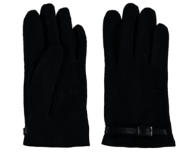 Sarlini fijn gebreide Dames handschoen met zwart riempje