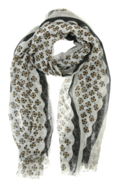 Lange zomersjaal Lina, Zwart/Taupe Flowers 91107