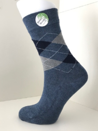 Boru Bamboo Design Square Argyle Sock | 2-Pack | Blauw/Grijs
