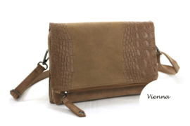 Camel vouwclutch / schoudertas / crossbody tas Vienna