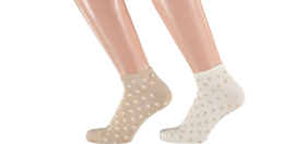 Sarlini Fashion Dames Low Sneakersok Dots beige/creme | 2-Pack | Maat 36-41