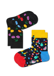Happy Socks Kids 2-pack Cherry Sokken