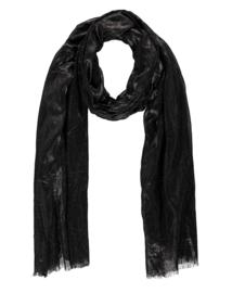 Sarlini lange Dames sjaal met subtiele gouden glanslook   Zwart
