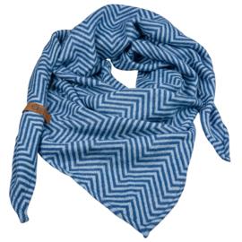 "Royale driehoek Sjaal ""Saar"" | Blauw"