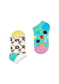 Happy Socks Kids 2-Pack Big Dot Low Sock Groen