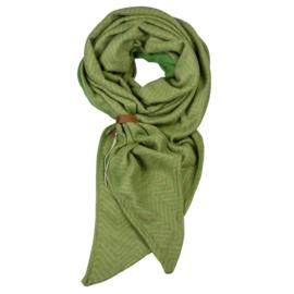 """Tess"" | Groene Lange Sjaal met visgraad motief"