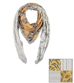 Sarlini Vierkante Dames sjaal Leaves Fantasy Okergeel