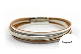Licht grijs/creme elegant leren armband