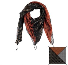 Sarlini Vierkante Orange Dames sjaal Design