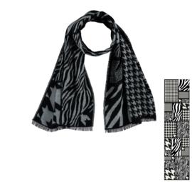 Sarlini lange Dames Sjaal Zebra Zwart/Wit