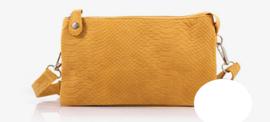 Okergeel kleurig snake New York schoudertasje / crossbodytasje