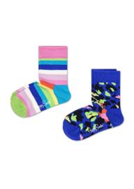 Happy Socks Kids 2-Pack Stripe Socks