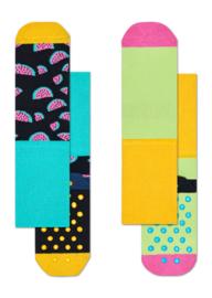 Happy Socks 2-Pack Antislip, Watermeloen,  6-12 maanden, schoenmaat 15-18