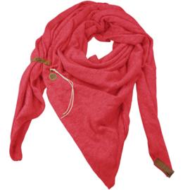 """Royale driekhoek sjaal """"Fien"""" met stoer leren bandje, Pink/Coral"""