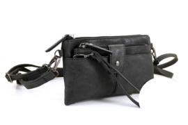 Zwart heup | schoudertasje | crossbodytas, Laren met clutch
