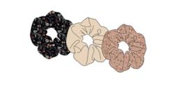 Sarlini Haarelastiek Scrunchies Zwart / Roze | 3 stuks