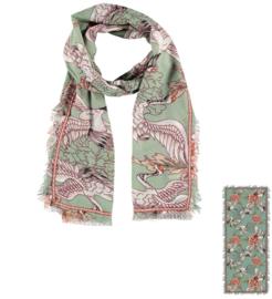Sarlini Dames sjaal Cranebird Antique Green