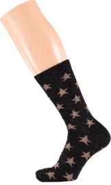 Sarlini Fashion Dames sokje Zwart Stars met glitters | Maat 36-41