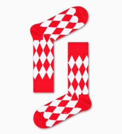 Happy Socks Carnaval Editie Red & White Diamond Socks