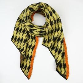 Zachte lange gele wintersjaal | Pierre de pu met orange rand