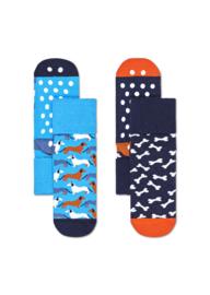 Happy Socks 2-Pack Antislip | Dog Blauw | 6-12 maanden, Maat 17-21