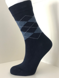 Boru Bamboo Design Square Argyle Sock | 2-Pack | Blauw