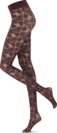 Oroblu   Floral Lace 40 Panty Zwart/Bordeaux
