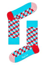 Happy Socks Filled Optic Sock Roze/Rood/Aqua