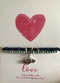 Quote Love met 2 armbandjes Blauw