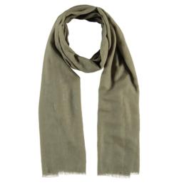 Sarlini lange Dames sjaal met subtiele gouden glanslook   Olive