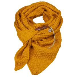 Gebreide Knitten  Royale omslagdoek | wintersjaal Lot, Okergeel