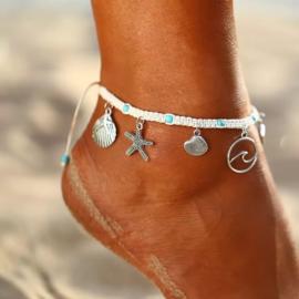 Gevlochten Enkelbandje Wit met Aqua Blauw | Sealife