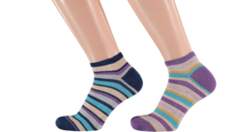 Sarlini Fashion Dames Low Sneakersok Stripes Lila | 2-Pack | Maat 36-41