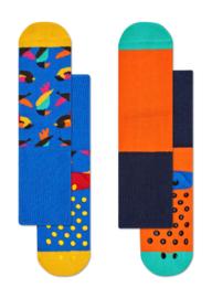 Happy Socks 2-Pack Antislip, Birds,  6-12 maanden, Maat 15-18