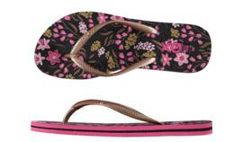Flip flops Dames | Teenslippers Flowers Pink Black
