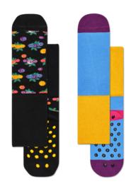 Happy Socks 2-Pack Antislip, Berry,  6-12 maanden, Maat 15-18