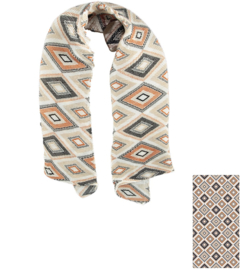 Sarlini Dames Plisé sjaal Geomatric Brique
