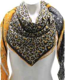 Sarlini Vierkante Dames sjaal Flowers and leopard Okergeel