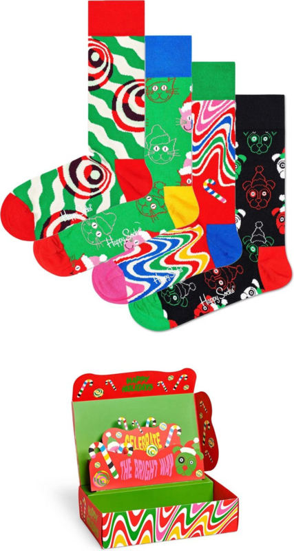 Happy Socks Christmas Psychedelic Candy Cane Socks Gift Box 4-Pack