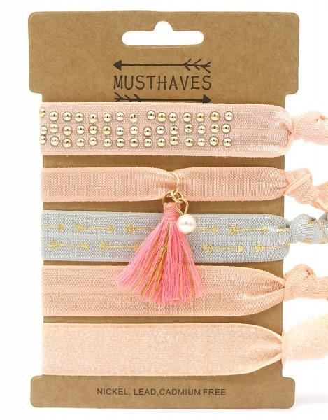 Elastische Hair Tie of Armbanden   Pink B0079