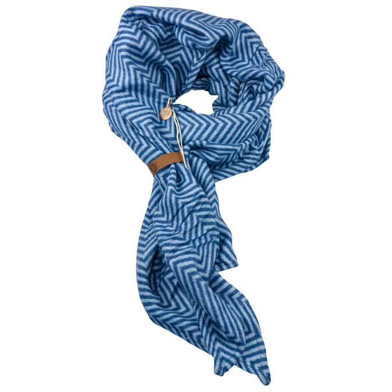 """Tess"" | Blauwe Lange Sjaal met visgraad motief"