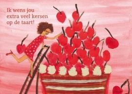 Verjaardagskaart Kersen op de taart