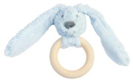 Wooden teething ring rabbit blue