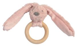Wooden teething ring rabbit old pink