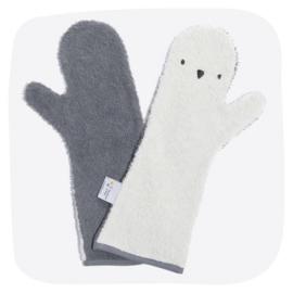 Baby shower glove pinguin blauw/grijs