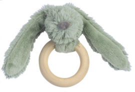 Wooden teething ring rabbit old green
