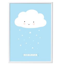 Poster wolk blauw