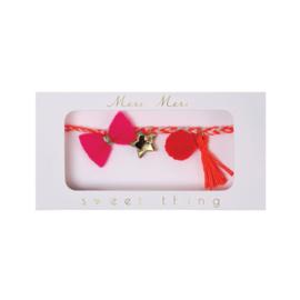 Armband pink plaited