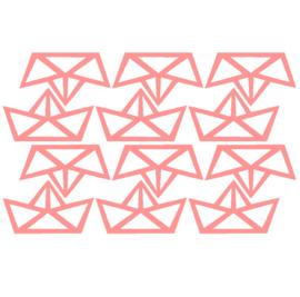 Muursticker origami bootje roze